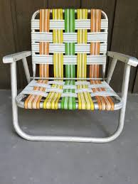 Vintage Short Aluminum Folding Lawn Beach Patio Chair Webbed Green Orange  Yellow White Retro Deck Metal Low To The Ground