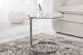 dunord design beistelltisch glastisch calais chrom glas höhenverstellbar deco design tisch sofatisch