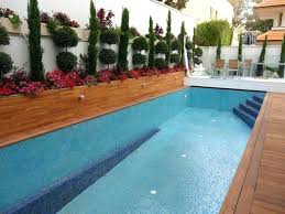 Teak Deck And Wall Cladding With White Synthetic Pool Cover Security Sliding