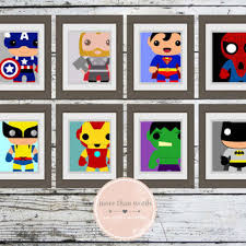 Superhero Comic Wall Decor by Avengers Superhero Nursery Prints Set Of From Morethanwords17 On