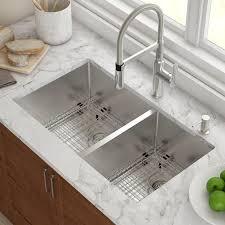 kraus 33 x 19 double basin undermount kitchen sink with drain