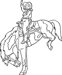 A Cowboy On Bucking Horse Coloring Page