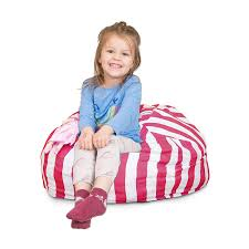 Stuffed Animal Bean Bag Chair For Kids, Large Storage For Toys And More,  Pink And White Stripe Lounger For Children, 27