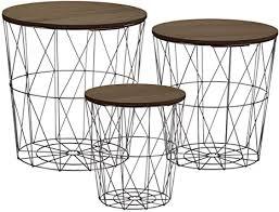 metall beistelltisch mit stauraum schwarz 3er set dunkle tischplatten wohnzimmer tisch mit abnehmbarer holz platte metallkorb sofatisch couchtisch