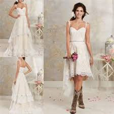 Two Styles Lace Country Wedding Dresses High Low Short Bridal And Floor Length Multi Layers Garden Bohemian Gowns