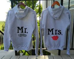mr and mrs honeymoon gray hoodies with mustache and red lips