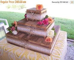 PICKLE ME SALE Wedding Cake Stand Reception Decorations Cupcake Stands 3 Tier Rustic Wood Burlap Lace Reclaimed Vintage We