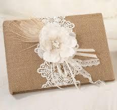 Burlap Lace Wedding Guest Book