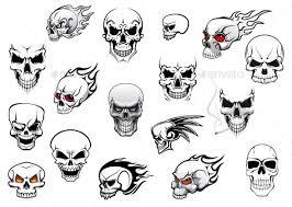 Simple Horror Skulls Tattoo Flash