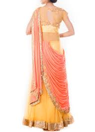 buy mustard yellow n peach net saree gown dresses and gown online