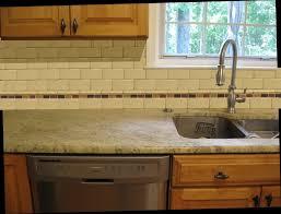 unique kitchen ideas with beige subway glass tile backsplash