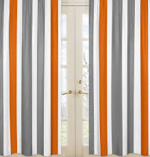 White And Gray Striped Curtains by Sweet Jojo Designs Gray And Orange Stripe Collection Window Panels