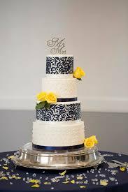 Wedding Cake Navy Yellow And White Military Spring