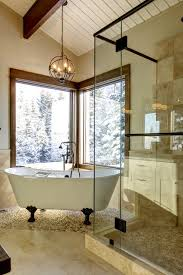 Chandelier Over Bathtub Soaking Tub by Country Residential Renovation Traditional Bathroom Calgary