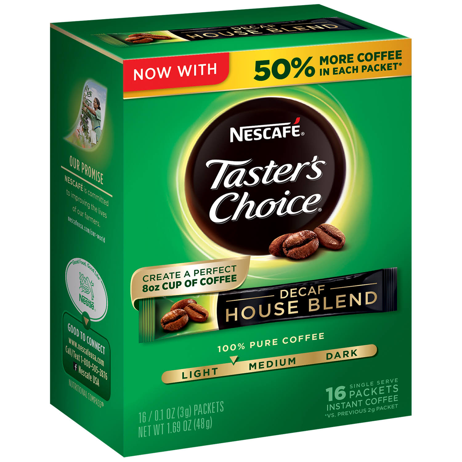 Nescafe Taster's Choice Decaf House Blend Instant Coffee Single Serve Sticks - 1.69oz, x16
