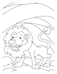 A Lion In Den Coloring Pages