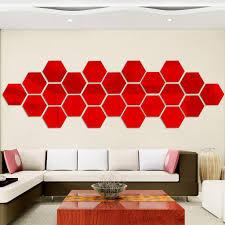 12 stueck 3d hexagon acryl spiegel wandaufkleber diy kunst dekoration wandaufkleber wohnkultur wohnzimmer spiegel aufkleber dekorative rot grosse 18 4