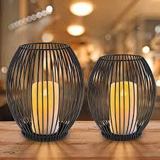 innislink kerzenständer 2er set metall kerzenhalter oval kerzenleuchter windlicht schwarz vintage kerzen ständer teelichthalter für deko wohnzimmer