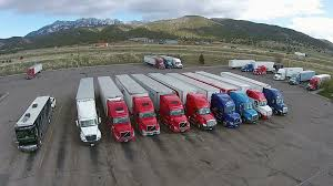 Aerial Tractor Trailer Truck Stop Parking HD 0030 Stock Video ...