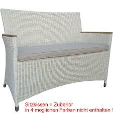 zebra 2sitze bank loomus 20148 alu teak armleh polyrattan silkwhite gartenbank 120cm oh kissen