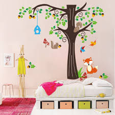 Tree Wall Decor Baby Nursery by Amazon Com 150 X134cm Nursery Forest Animals Birds Fox Squirrel