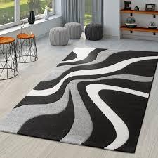 teppich schwarz weiß grau wohnzimmer teppiche modern mit konturenschnitt