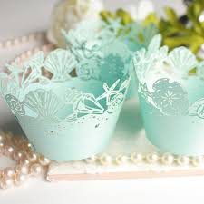 Blue Seashell Cupcake Wrappers For Standard Or MINI Size