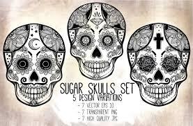 Easy Sugar Skull Day Of by Sugar Skulls Set Day Of The Dead Illustrations Creative Market