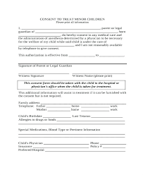 Babysitter Template Forms Best Of Medical Consent Form Free Child Treatment