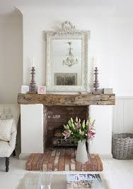 Gorgeous Rustic Fireplace In A Clean White Space
