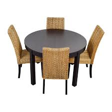 66% OFF - Round Black Dining Table Set With Four Chairs / Tables Ding Room Set Round Wooden Table And Chairs Black 5 Piece Rustic Kitchen Farmhouse 48 Inch Sets Insurserviceonline Unique Extension Khandzoo Home Decor Best Bailey With Turned Legs Rotmans The Kaitlin Miami Direct Fniture Glass Ikea Dinner Comfortable Chair Circular Tables And Amazoncom Pac New 5pc Antique White Wash Cherry Finish Stanley Juniper Dell 5piece Dunk Ashley With Design Material Harbor View 4 Slat Back