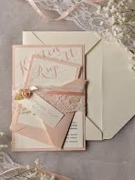 Custom Listing 20 Ivory Peach Wedding Invitation Vintage Lace Invitations Rustic Belly Band