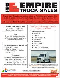 Empire Truck Sales - CareerSource Escarosa Volvo Trucks Jordan Truck Sales Used Inc Blue Book Cars Sanford Fl New Service 1959 2010 Ford F150 North Florida Equipment Contact Us South Orlando Maudlin Intertional Trailer Used Trucks For Sale Tsi Chevy Dealer Nearest Me Pembroke Pines Autonation Chevrolet Lifted For Sale In Tuscany Mckenzie Buick Gmc