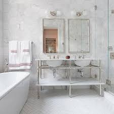 waterworks washstand with white marble herringbone tile