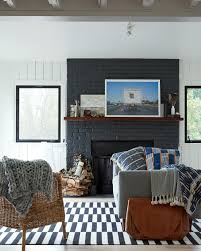Living Room With Fireplace Design by House Tour Modern Farmhouse With Mid Century Accents Coco