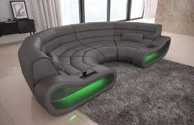 ledercouch big sofa concept u form led beleuchtung