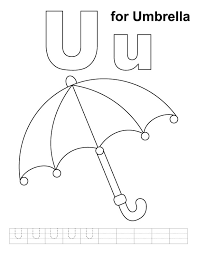 U For Umbrella Coloring Page With Handwriting Practice