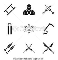 Japanese Weapons Icons Set Simple Style