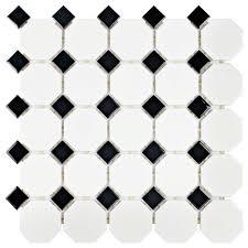 merola tile metro octagon matte white and black 11 1 2 in x 11 1