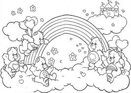 All The Happy Care Bear Welcoming Rainbow Coloring Page