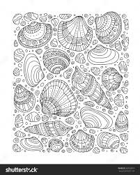 Seashell Pattern Art Background Vector Illustration Zentangle Coloring Book Page For Adult