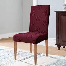 Subrtex Jacquard Stretch Dining Room Chair Slipcovers (2 Pieces, Wine) Leanking Knit Spandex Fabric Stretch Removable Washable Ding Room Chair Slipcover Home Decor Set Of 4 Grey Leaf Pcs Turquoize Slipcovers Jacquard Kitchen Parson Protector Cover Seat For Hotelding Using Chalk Paint To Your Couch Or Wing Back Vinyl Covers Plastic For Chairs Parsons Best Rated In Helpful Customer Reviews Argstar Pack Beige Deconovo Modern 2 How To Sew A The Ikea Henriksdal Bar Scarce Amazon Com Xflyee Redoubtable With Arms Magnificent