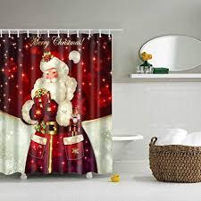 thee duschvorhang weihnachten badevorhang wasserdicht badezimmer vorhänge dekoration weihnachtsmann