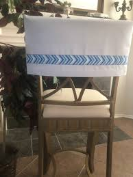White Half Chair Cover W/Blue & White Trim, Kitchen/Dining, Bar Stools,  Dorm Chair, Vanity, Desk/Office, Slipcovers , Pub, Classroom, Party Quick Chair Cover Family Chic By Camilla Fabbri 092018 Gray Burlap Half Wgray White Chevron Ribbon Trim Dorm Kitchen Ding Slipcovers Bar Stool Back Covers Fniture Chaing The Look Of Your Room In Minutes With Charcoal Tan Man Cave Or Office Stools Desk Spectacular T Cushion Spandex Black Ivory Folding Arched Wedding Reception Slipper Diy Ba Barn Barrel One Bath A Made Midwest Footprints Products For Absolutely Fabulous Events And Productions Sashes Sj Enterprises