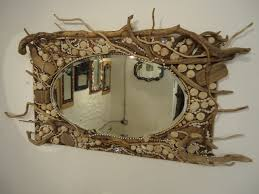 Wall Art Ideas Design Decorative Driftwood Rectangular Glass Mirror Unique Wooden Hardwood Hanging Top For Sale