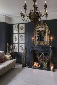 A Living Room With The Most Beautiful Dark Walls And That Mirror Chandelier New Spacious Kitchen Rustic Boho Dining THREE