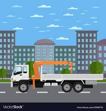 100 Truck Mounted Crane Mounted Crane On Road In City Royalty Free Vector