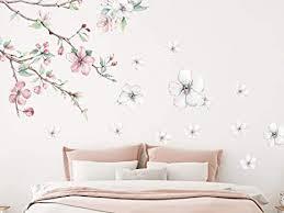 grazdesign wandtattoo blumen kirschblüten vintage weiße blüten blumenmuster tapete schlafzimmer wandaufkleber über sofa bett kommode blattgröße