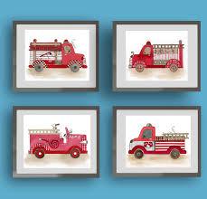 Firetruck Nursery Art Vintage Firetruck Art Prints Fire | Etsy