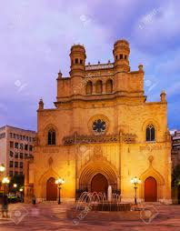 Cathedral Of Saint Mary At Castellon De La Plana In Evening